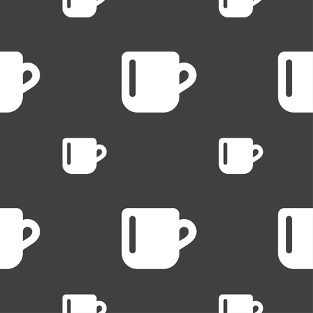 cup coffee or tea icon sign. Seamless pattern on a gray background. Vector illustration