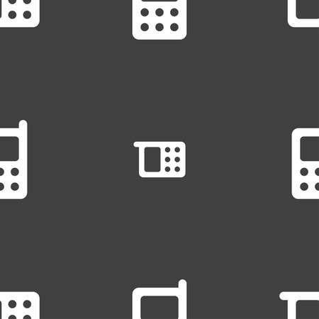 mobile phone icon: mobile phone icon sign. Seamless pan. Seamless pattern on a gray background. Vector illustration