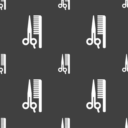 haircutting: hair icon sign. Seamless pattern on a gray background. Vector illustration