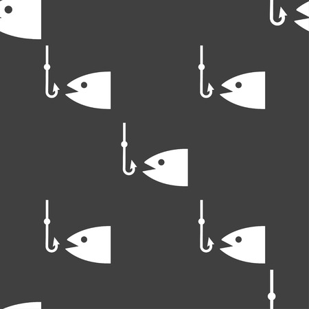 floater: Fishing icon sign. Seamless pattern on a gray background. Vector illustration