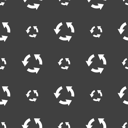 application recycle: Refresh icon sign. Seamless pattern on a gray background. Vector illustration Illustration
