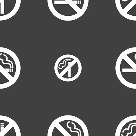 pernicious: no smoking icon sign. Seamless pattern on a gray background. Vector illustration Illustration