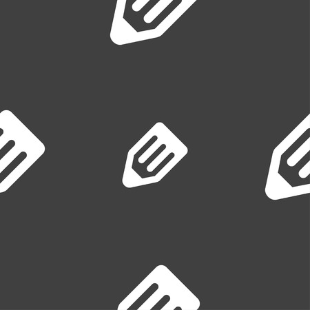 secretarial: pencil icon sign. Seamless pattern on a gray background. Vector illustration