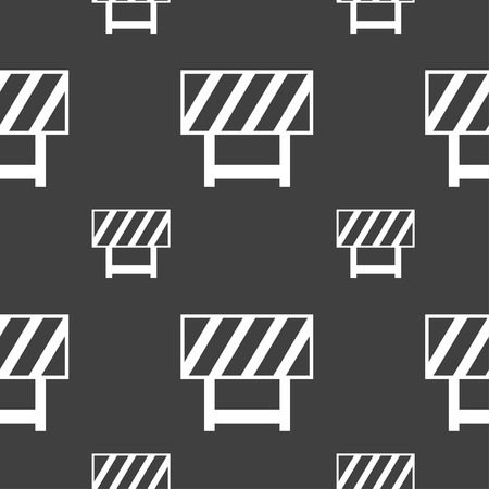obstruction: road barrier icon sign. Seamless pattern on a gray background. Vector illustration Illustration