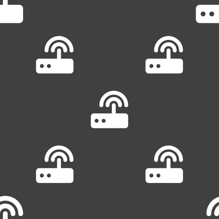 dsl: Wi fi router icon sign. Seamless pattern on a gray background. Vector illustration Illustration
