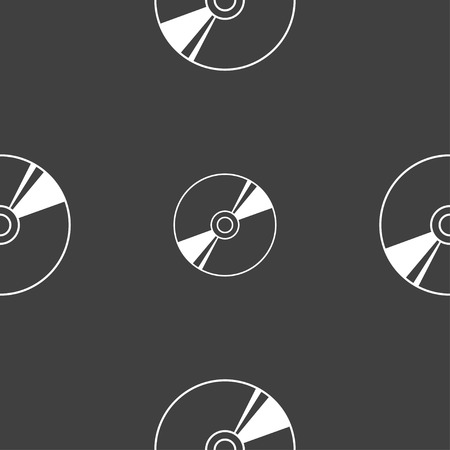 compact disk: Cd, DVD, compact disk, blue ray icon sign. Seamless pattern on a gray background. Vector illustration Illustration