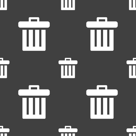 litter bin: Recycle bin icon sign. Seamless pattern on a gray background. Vector illustration