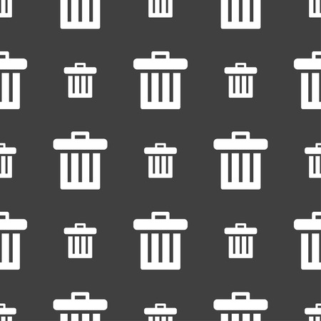 utilize: Recycle bin icon sign. Seamless pattern on a gray background. Vector illustration