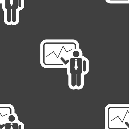 sign making: businessman making report icon sign. Seamless pattern on a gray background. Vector illustration