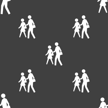 passage clout�: passage pour pi�tons signe ic�ne. Seamless sur un fond gris. Vector illustration