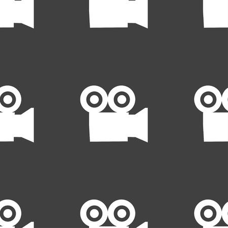 journalistic: telecamera segno icona. Seamless su uno sfondo grigio. Illustrazione vettoriale