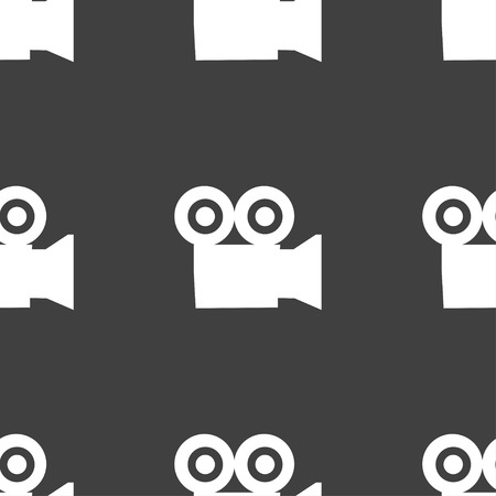 journalistic: video camera icon sign. Seamless pattern on a gray background. Vector illustration