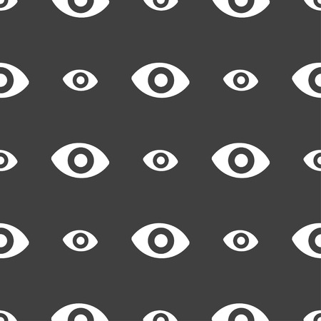 a sense of: sixth sense, the eye icon sign. Seamless pattern on a gray background. Vector illustration