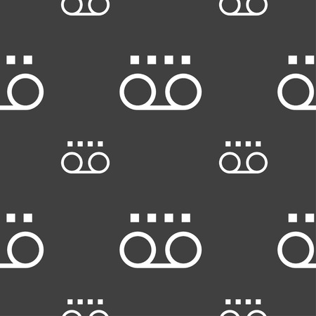 audio cassette: audio cassette icon sign. Seamless pattern on a gray background. Vector illustration