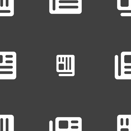 newspaper stack: book, newspaper icon sign. Seamless pan. Seamless pattern on a gray background. Vector illustration