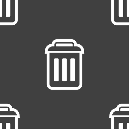 local supply: the trash icon sign. Seamless pattern on a gray background. Vector illustration Illustration