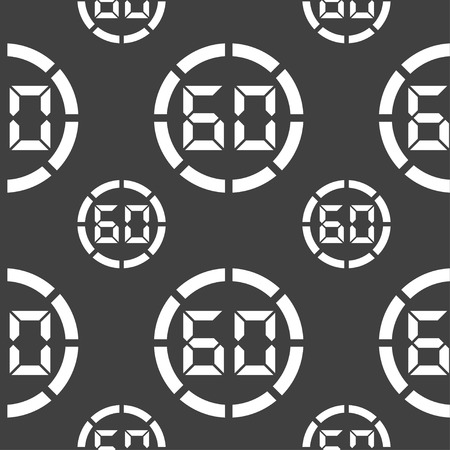 interval: 60 second stopwatch icon sign. Seamless pattern on a gray background. Vector illustration Illustration