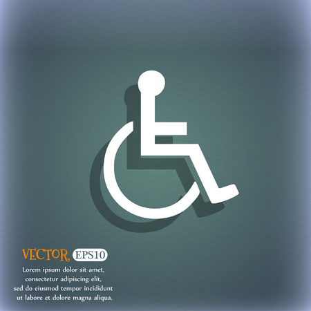 blind dog: disabled icon symbol on the blue-green abstract background with shadow and space