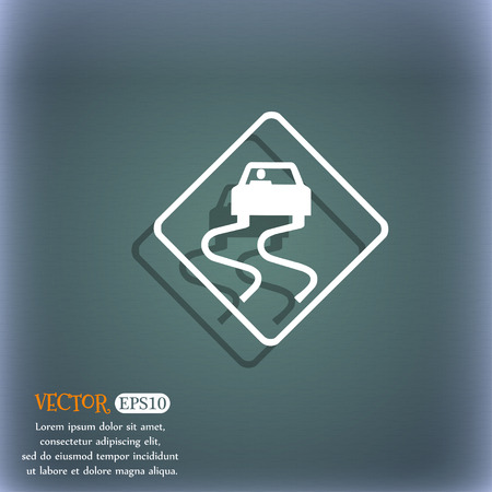 curve ahead sign: Road slippery icon symbol on the blue-green abstract background with shadow and space