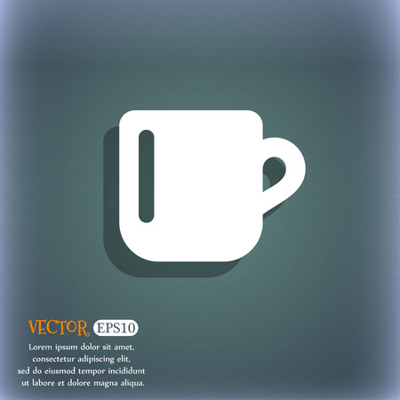 bluegreen: cup coffee or tea icon symbol on the blue-green abstract background with shadow and space