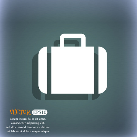 suit case: Suitcase icon symbol on the blue-green abstract background with shadow and space