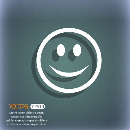 bluegreen: Smile, Happy face icon symbol on the blue-green abstract background with shadow and space Illustration