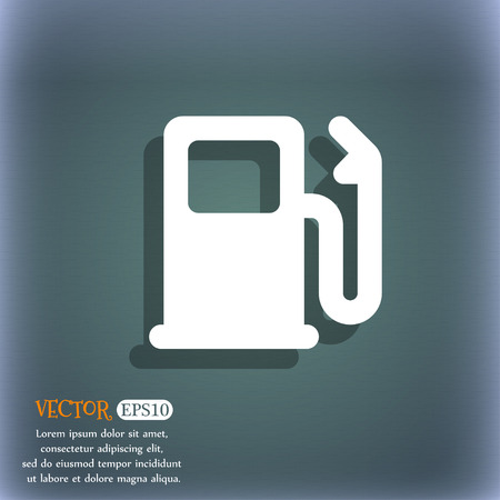 space station: Petrol or Gas station, Car fuel icon symbol on the blue-green abstract background with shadow and space