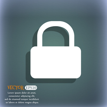 pad lock: Pad Lock icon symbol on the blue-green abstract background with shadow and space