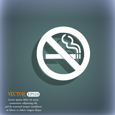 smoldering cigarette: no smoking icon symbol on the blue-green abstract background with shadow and space