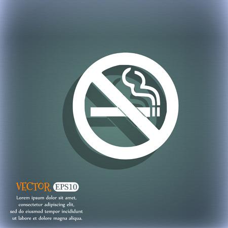 smoldering: Simbolo di icona non fumare sullo sfondo astratto blu-verde con ombra e lo spazio