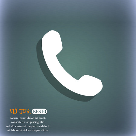 bluegreen: Phone, Support, Call center icon symbol on the blue-green abstract background with shadow and space Illustration