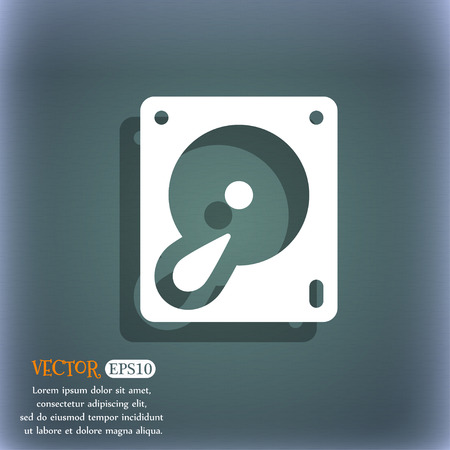 bluegreen: Hard disk and database icon symbol on the blue-green abstract background with shadow and space Illustration