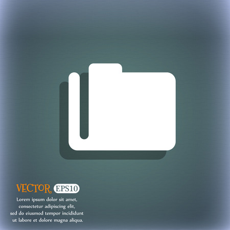map case: Document folder icon symbol on the blue-green abstract background with shadow and space