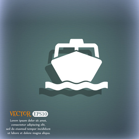 inflate boat: the boat icon symbol on the blue-green abstract background with shadow and space