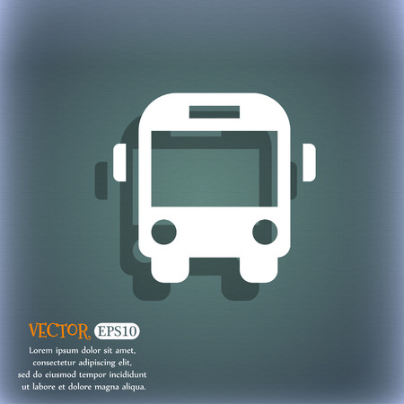 schoolbus: Bus icon symbol on the blue-green abstract background with shadow and space Illustration