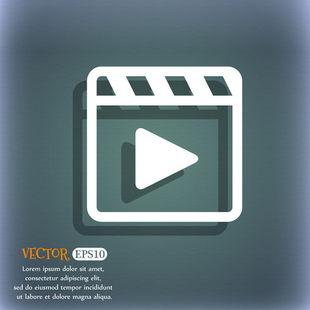 bluegreen: Play video icon symbol on the blue-green abstract background with shadow and space