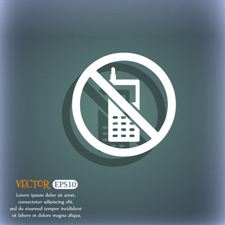 cell phones not allowed: mobile phone is prohibited icon symbol on the blue-green abstract background with shadow and space