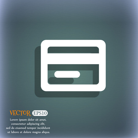 bluegreen: credit card icon symbol on the blue-green abstract background with shadow and space Illustration
