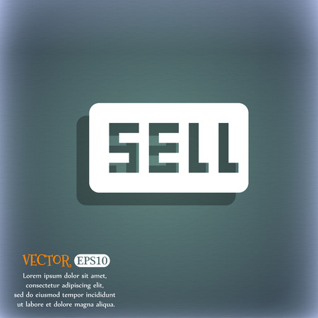 contributor: Sell, Contributor earnings icon symbol on the blue-green abstract background with shadow and space Illustration