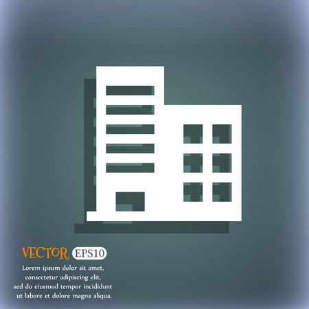 anuncio publicitario: edificios altos y apartamentos residenciales ic�nico s�mbolo en el fondo abstracto azul-verde con la sombra y el espacio