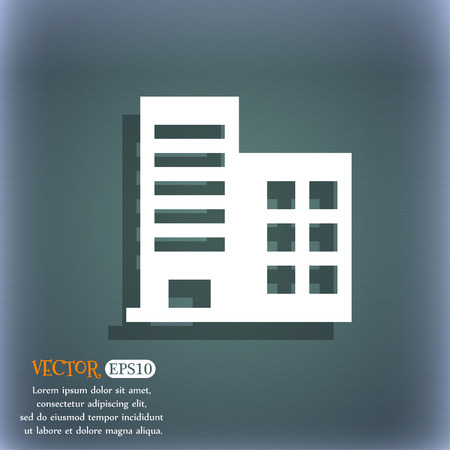 building industry: high-rise commercial buildings and residential apartments icon symbol on the blue-green abstract background with shadow and space