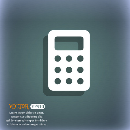 calc: Calculator, Bookkeeping  icon symbol on the blue-green abstract background with shadow and space Illustration