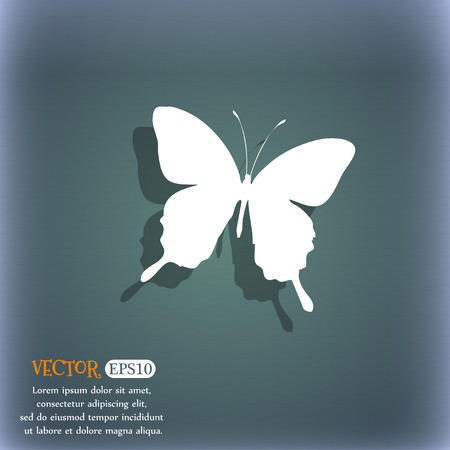 bluegreen: butterfly icon symbol on the blue-green abstract background with shadow and space Illustration