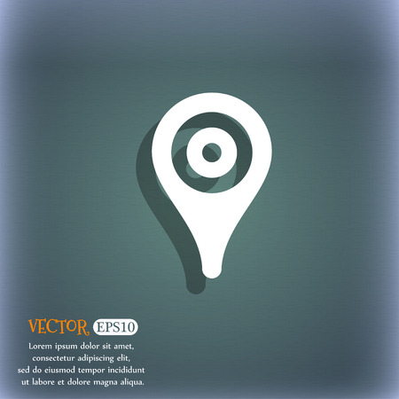 bluegreen: Map pointer, GPS location icon symbol on the blue-green abstract background with shadow and space