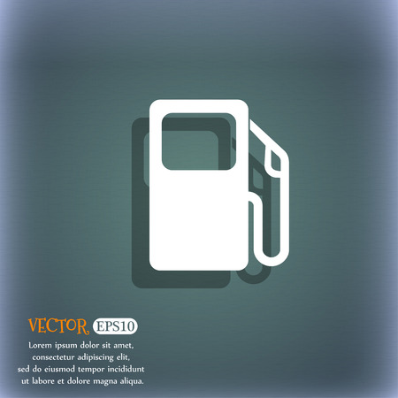 space station: Auto gas station icon symbol on the blue-green abstract background with shadow and space Illustration