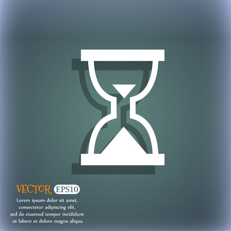 bluegreen: Hourglass, Sand timer icon symbol on the blue-green abstract background with shadow and space Illustration