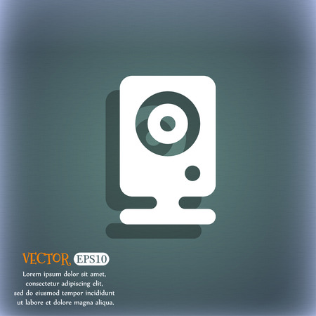 web cam: Web cam icon symbol on the blue-green abstract background with shadow and space