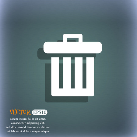 garbage tank: Recycle bin icon symbol on the blue-green abstract background with shadow and space