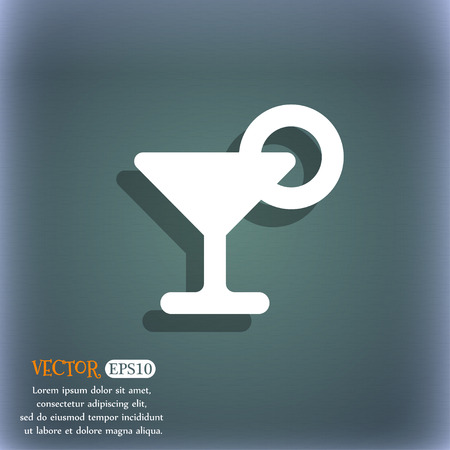 hour: Drink, cocktail with a lemon  icon symbol on the blue-green abstract background with shadow and space Illustration