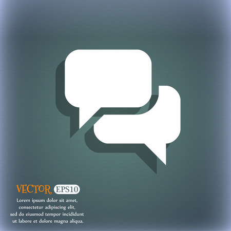 bluegreen: Speech bubble, Think cloud icon symbol on the blue-green abstract background with shadow and space Illustration